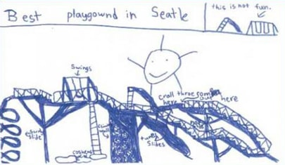 Playground design from a child for the Seattle Center Play Area executed by Highwire