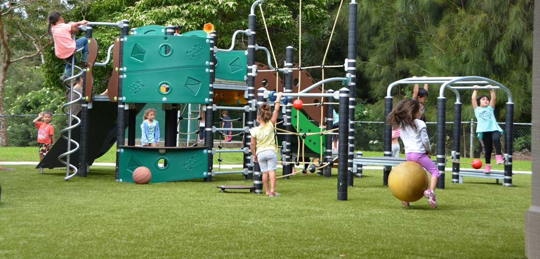 Toddler commercial playground with fully compliant play structures and safety surfacing