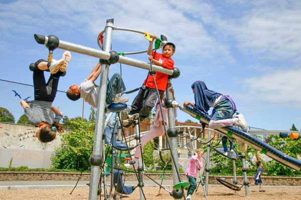 playground climbing, sliding and swinging