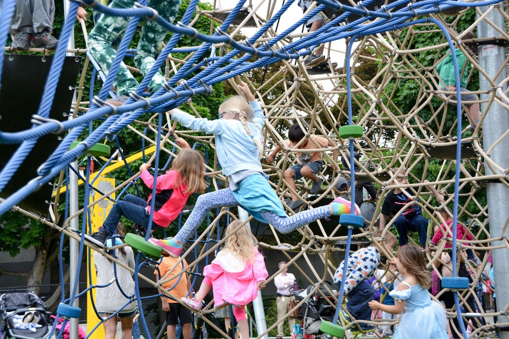 Climbing net structure at the Seattle Center Playground