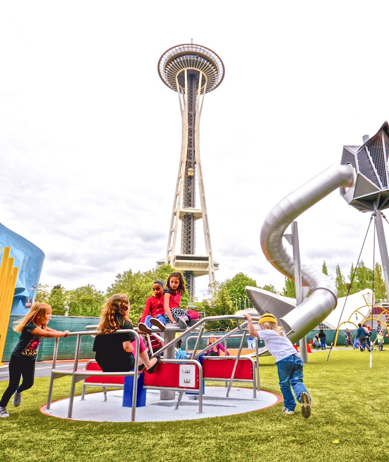 Seattle Center play area with KOMPAN commercial play equipment