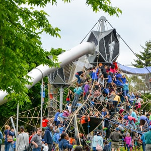 Climbing structure at Seattle Center play area with equipment from KOMPAN. Playground Designed by Highwire