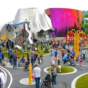Seattle Center Child Designed Playground with playground equipment from KOMPAN sold and executed by Highwire