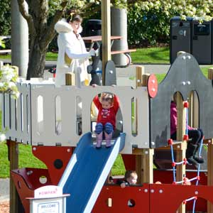 Playground with pretend play ship