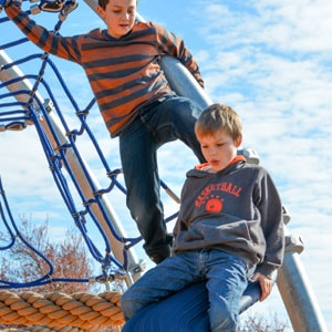 Playing their way on the playground structures at Silverdale