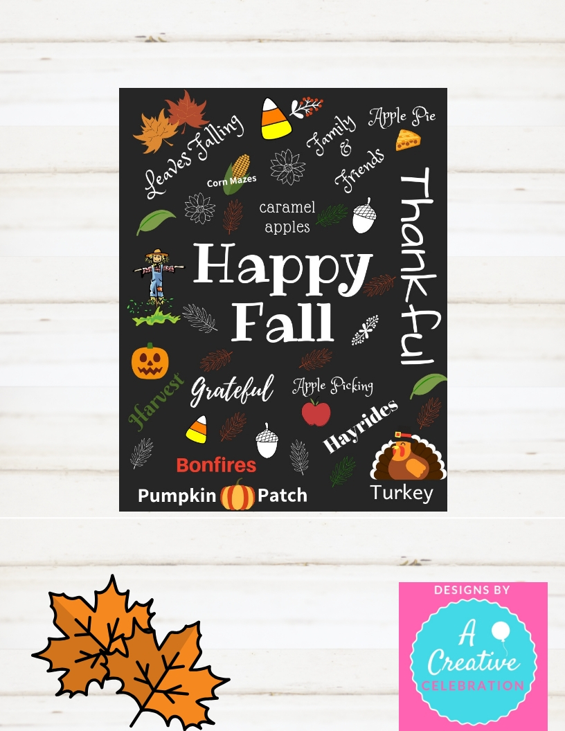 Fall Decoration, Happy Fall, Fall Instant Printable Sign