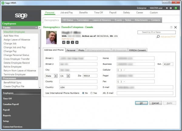Sage HRMS Employee Profile Screen