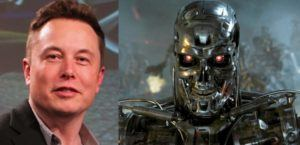 Image of Elon Musk and the T2000 from The Terminator Movie