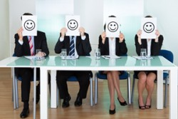 Businessmen with smiley faces