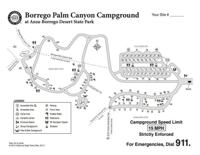 Borrego Palm Canyon Campground Map