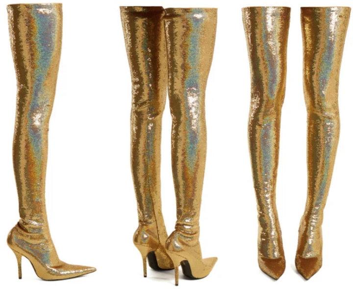 Glittery, Thigh-High Balenciaga Boots