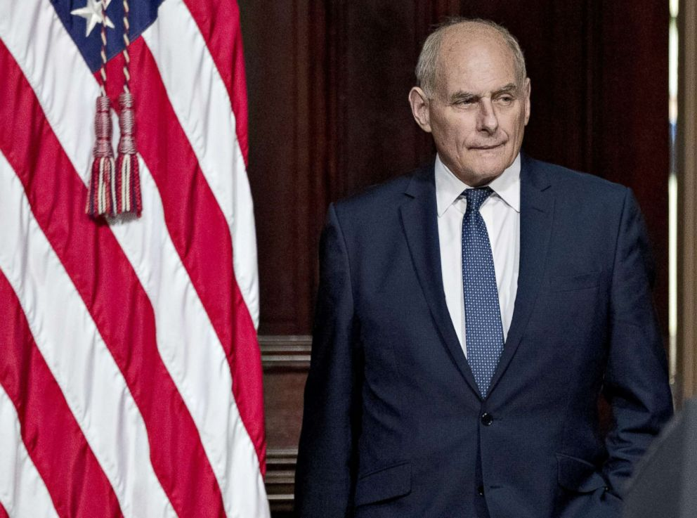 PHOTO: John Kelly, White House chief of staff, attends an Interagency Task Force to Monitor and Combat Trafficking in Persons annual meeting in Washington, D.C. in this Oct. 11, 2018 file photo.