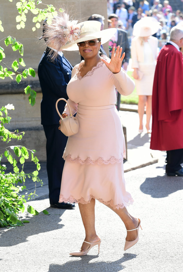 Winfrey arrives at St George's Chapel at Windsor Castle for the wedding of Meghan Markle and Prince Harry.