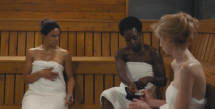 """Michelle Rodriguez, Davis and Elizabeth Debicki in """"Widows."""""""
