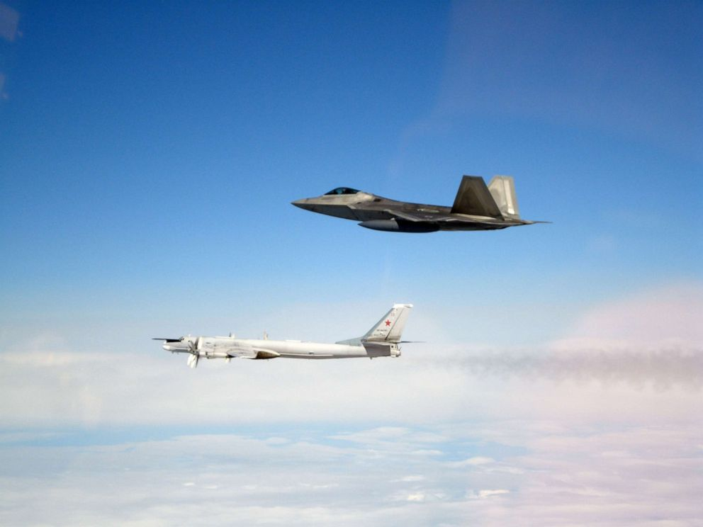 PHOTO: Four F-22s intercepted four Tupolev Tu-95 bombers and two Su-35 fighters that had entered the Alaskan Air Defense Identification Zone (ADIZ) on May 20, 2019.