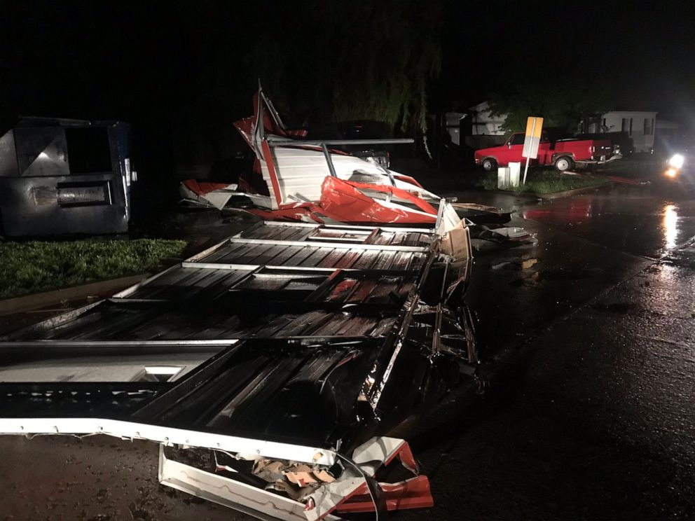 PHOTO: Severe damage was reported in El Reno, Okla., after a tornado hit a hotel and mobile home park on Saturday, May 25, 2019.