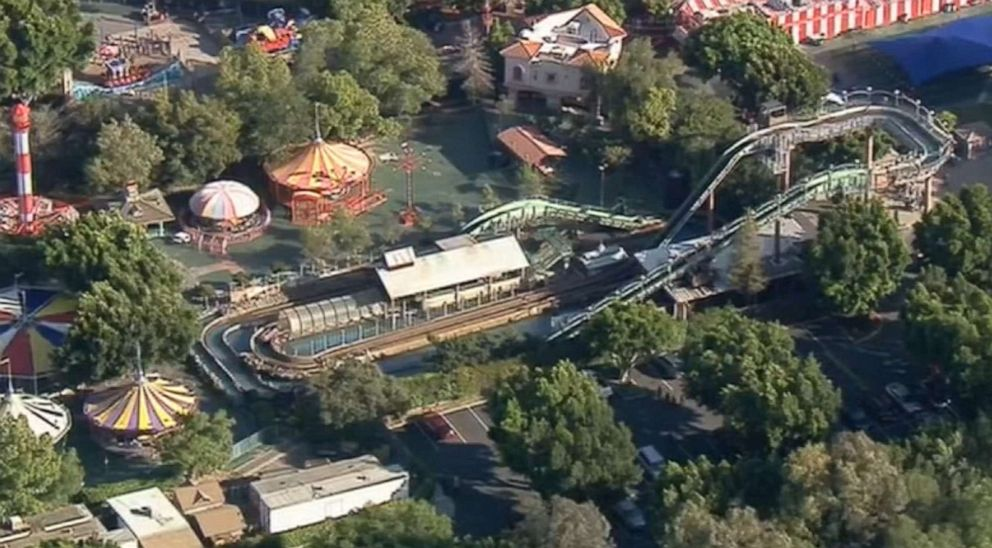 PHOTO: Three people were injured after a log ride overturned at Castle Park in Riverside, Calif., May 25, 2019.