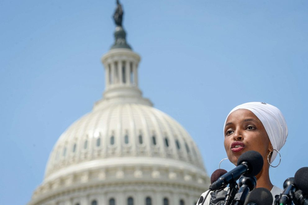 PHOTO: Rep. Ilhan Omar, D-Minn., holds a news conference to discuss major college affordability legislation in Washington, June 24, 2019.