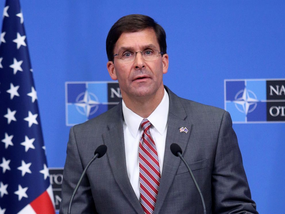 PHOTO:Acting U.S. Secretary for Defense Mark Esper speaks during a news conference after a NATO Defence Ministers meeting in Brussels, June 27, 2019.