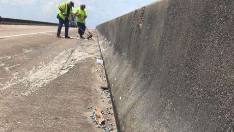 Crews cleaned up the debris along I-10.
