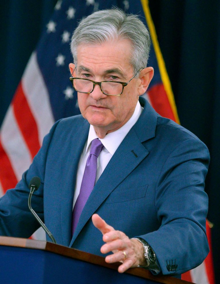 PHOTO: In this file photo taken on July 31, 2019, U.S. Federal Reserve Chairman Jerome Powell speaks during a press conference after a Federal Open Market Committee meeting in Washington, D.C.