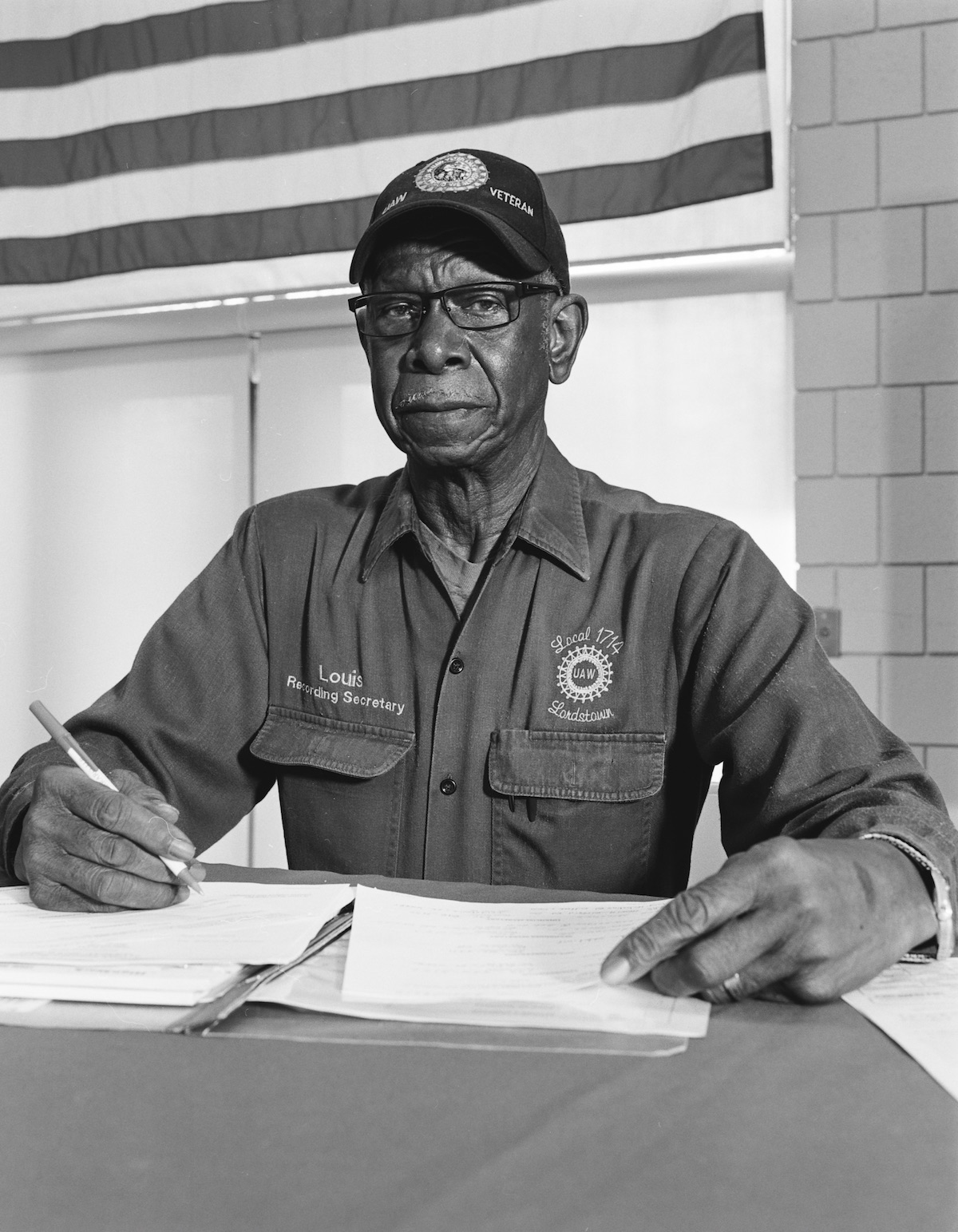 LaToya Ruby Frazier, 'Louis Robinson Jr., Local 1714 Recording Secretary, at UAW Local 1112 Reuther, Scandy, Alli union hall (retiree, 34 years in at GM Lordstown Assembly, die setter), Lordstown OH,' 2019.