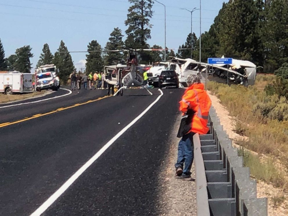 PHOTO: First responders work at the scene where a tour bus crashed near Bryce Canyon National Park on SR-12 in Utah, Sept. 20, 2019.