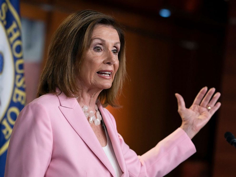 PHOTO: Speaker of the House Nancy Pelosi meets with reporters just after the House Judiciary Committee approved guidelines for impeachment hearings on President Donald Trump, at the Capitol in Washington, D.C., Sept. 12, 2019.