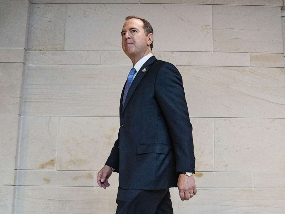 PHOTO: House Intelligence Committee Chairman Adam Schiff arrives at the Capitol before the committee meeting with Acting Director of National Intelligence Joseph Maguire on September 19, 2019, in Washington, D.C.
