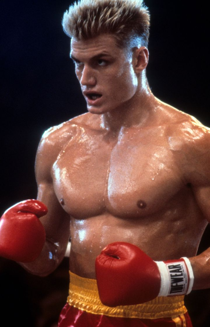 "Lundgren as Ivan Drago in a scene from ""Rocky IV."""