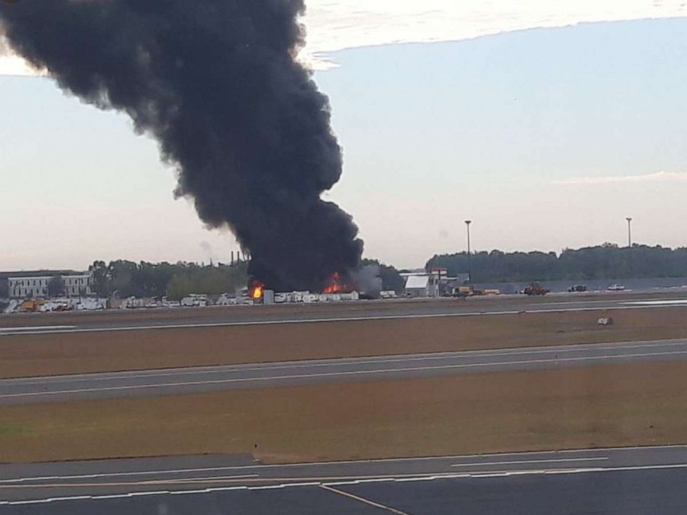 PHOTO: A plane crashed at Bradley Airport in Conn., Oct 2, 2019.