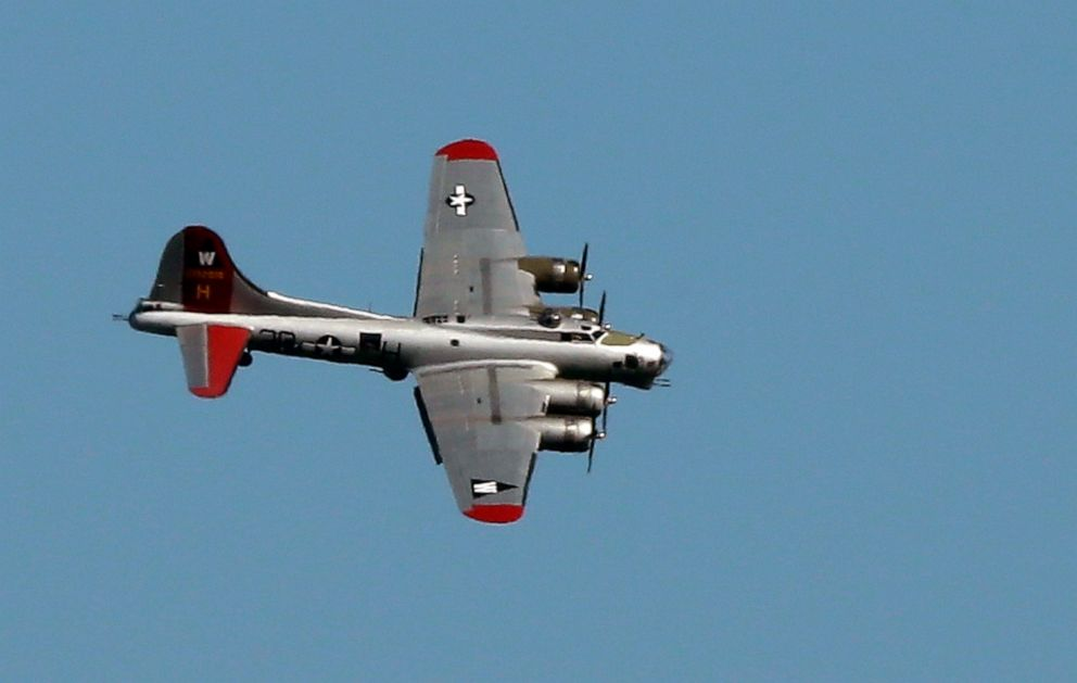 PHOTO: In this June 6, 2016, file photo, a World War II-era Boeing B-17 Flying Fortress airplane banks in the air as it comes in for a landing in Seattle on the anniversary of D-Day.