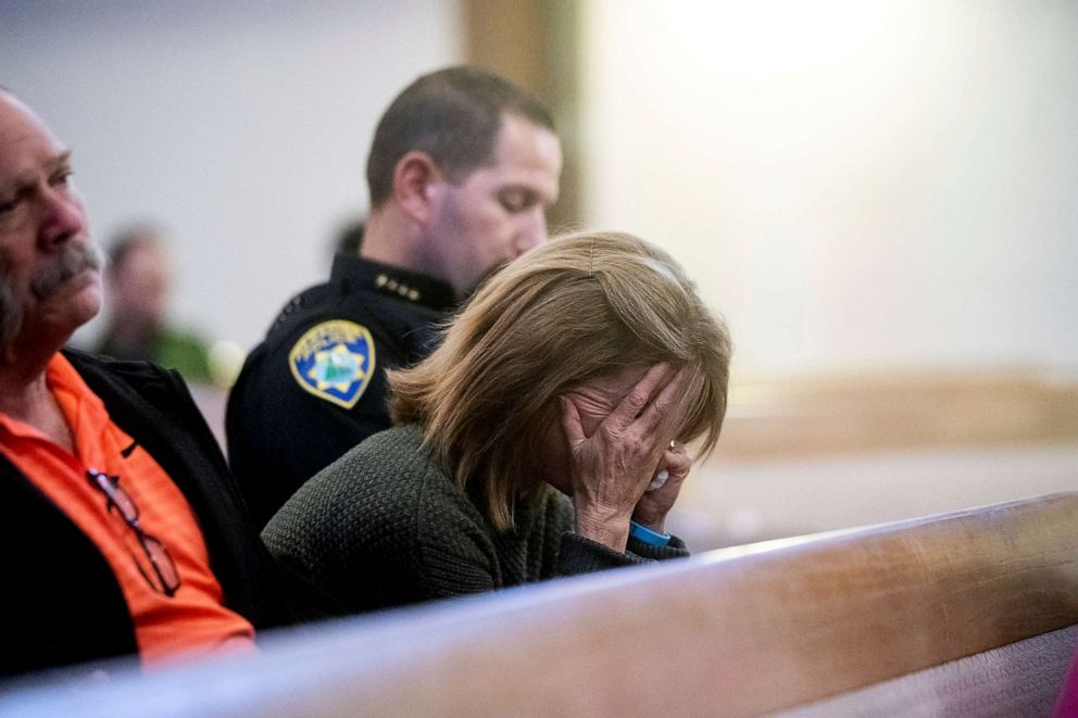 PHOTO: Paradise Town Manager Lauren Gill cries during a vigil for Camp Fire victims on Nov. 18, 2018, at the First Christian Church of Chico in Chico, Calif.