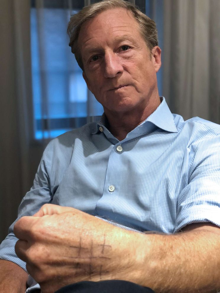 PHOTO: Tom Steyer said he draws a Jerusalem Cross on his hand to remind him to tell the truth, no matter what the cost.