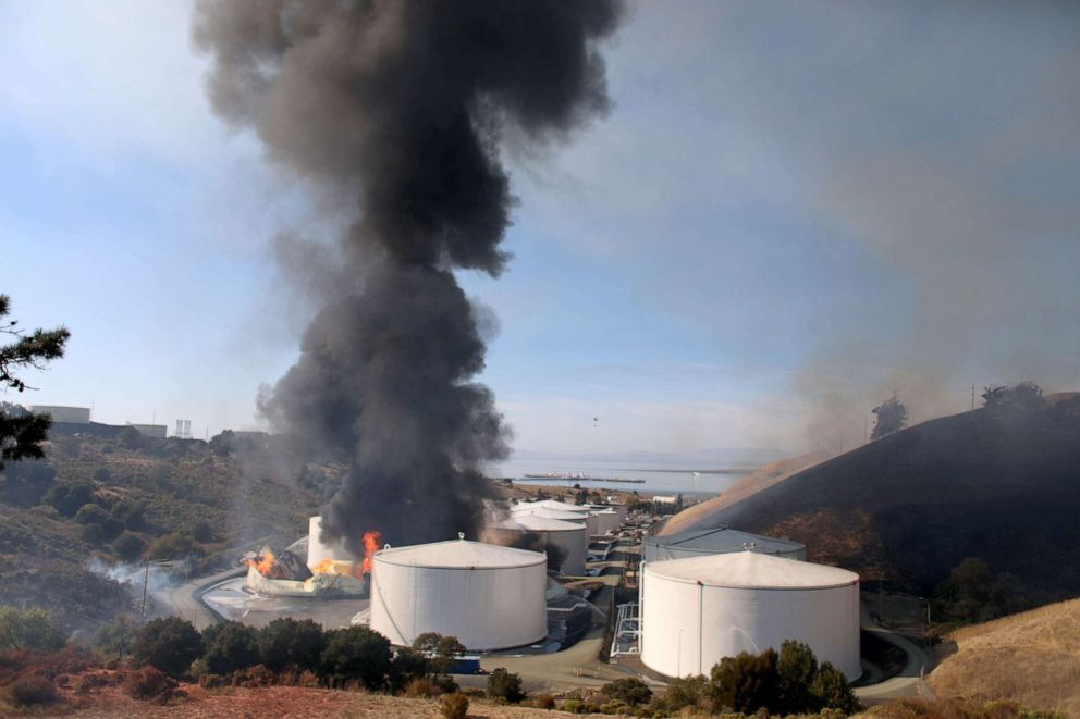 PHOTO: An ethanol tank burns at the NuStar Energy facility in Crockett, Calif., Oct. 15, 2019.
