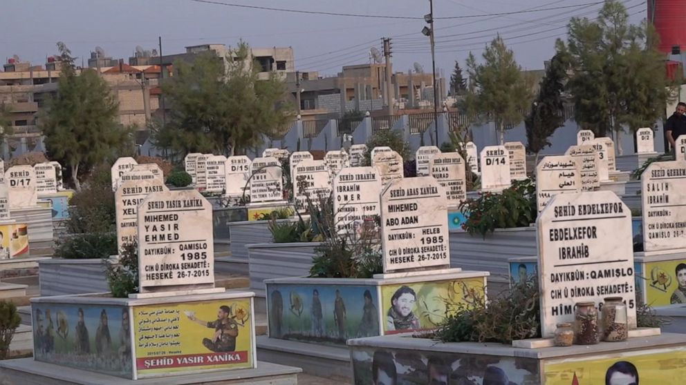 PHOTO: Naila and Simko showed ABC News their sisters grave on the edge of al-Malikiyah, which is marked Sehid, meaning martyr. In this cemetery, every single tombstone, marking the final resting place of volunteers like Bawer, is marked the same.