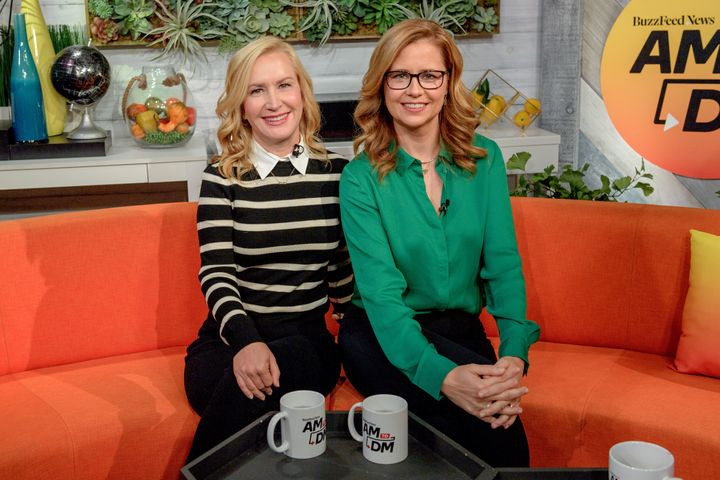 """Angela Kinsey and Jenna Fischer on BuzzFeed's """"AM to DM"""" Thursday."""