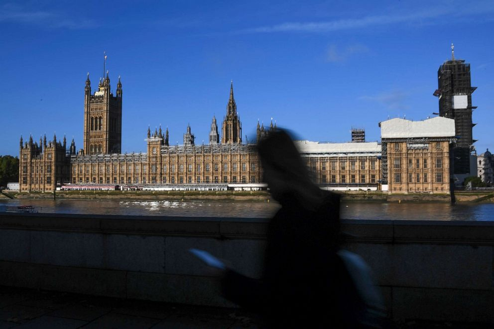 PHOTO: A pedestrian passes the Houses of Parliament, in London, Oct. 18, 2019.