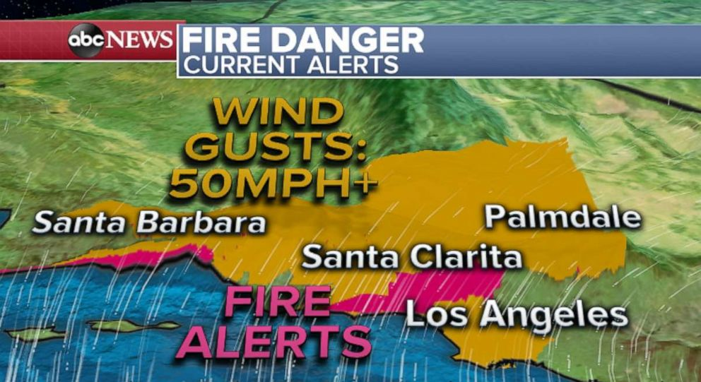 PHOTO: Strong winds locally over 50 mph will be possible in the Los Angeles metro area today.