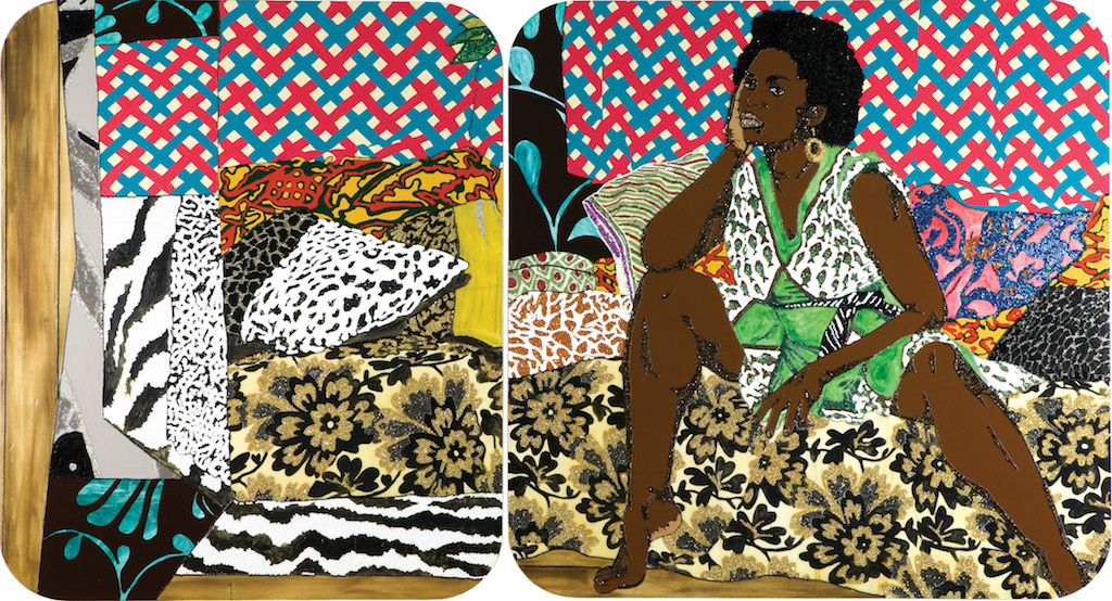 Mickalene Thomas, 'Baby I Am Ready Now,' 2007, diptych, acrylic, rhinestone and enamel on wooden panel