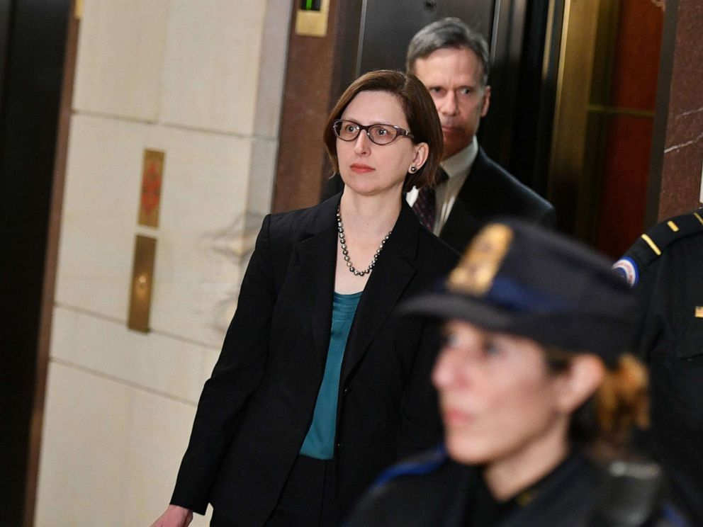 PHOTO: Deputy Assistant Secretary of Defense for Russia, Ukraine, and Eurasia Laura Cooper arrives at the Capitol ahead of her closed-door deposition before members of Congress, Oct. 23, 2019.