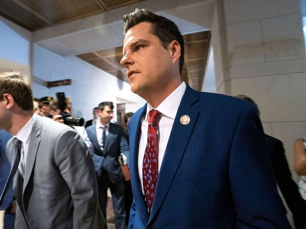 PHOTO: Republican Representative from Florida Matt Gaetz joins more than two dozen Republican lawmakers attempting to gather outside the room used by the House of Representatives impeachment inquiry into President Trump in the US Capitol Oct. 23, 2019.