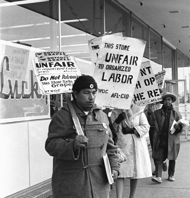 Picketers in front of a grocery store carry placards urging the boycott of the store because it carries grapes picked by non-
