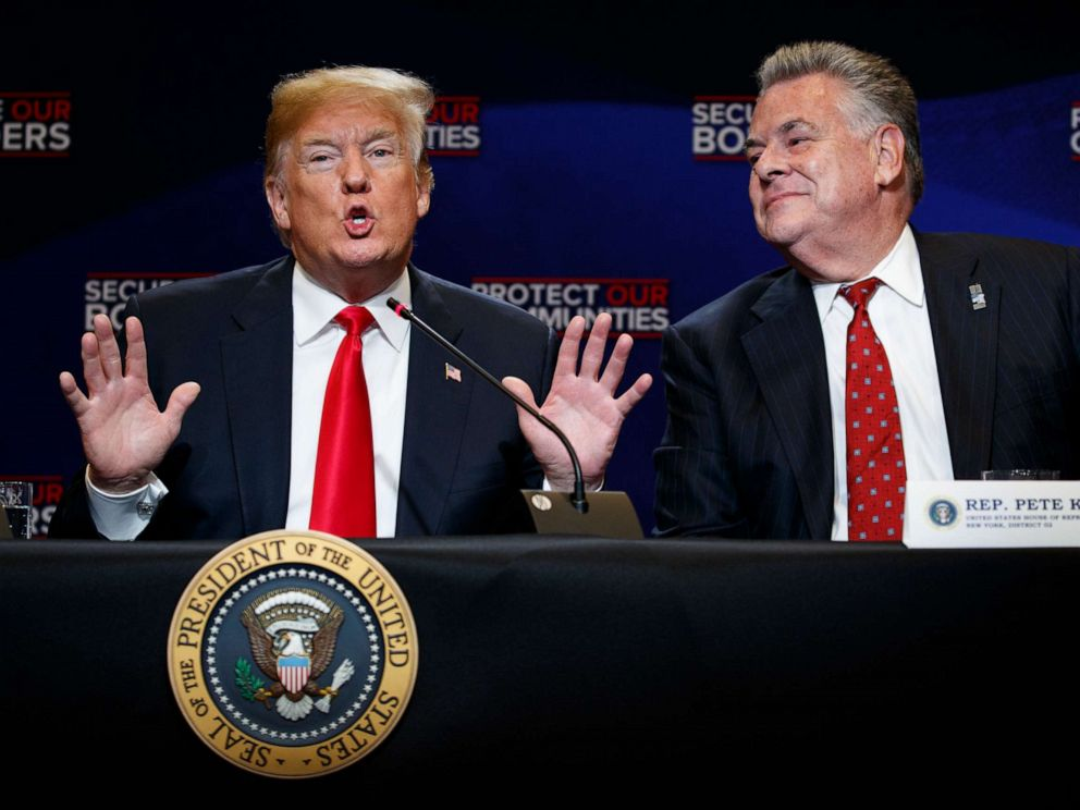 PHOTO: In this May 23, 2018, file photo, Rep. Peter King, R-N.Y., right, listens as President Donald Trump speaks during a roundtable on immigration policy at Morrelly Homeland Security Center in Bethpage, N.Y. (AP Photo/Evan Vucci, File)