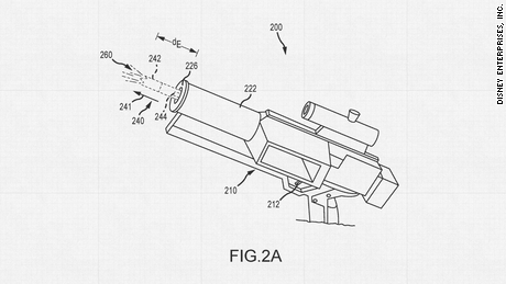 """Disney patented new technologies to bring elements of Star Wars to life, including this blaster prop capable of """"repeatable, daylight-viewable muzzle flashes."""""""