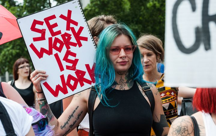 Sex workers and activists protest outside Parliament in London in July 2018, arguing that Britain should not follow the SESTA