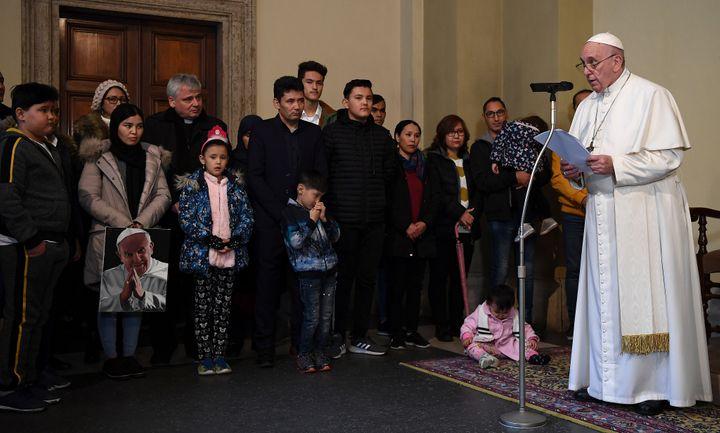 Pope Francis delivers a speech at the Vatican on Dec. 19, 2019, during an audience with refugees who'd arrived from the Greek