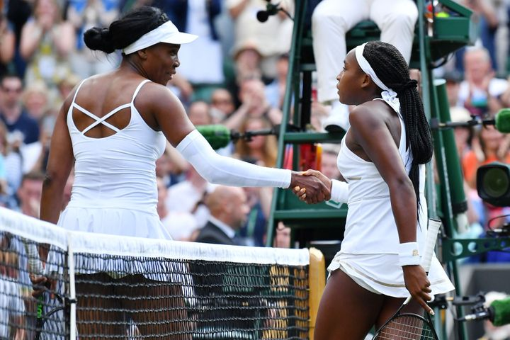 Venus Williams congratulated Coco Gauff after the first-round match at the 2019 Wimbledon Championships on July 1, 2019.