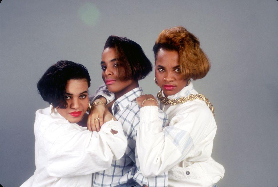 "(Left to right) Cheryl ""Salt"" James, Deidra ""Dee Dee"" Roper aka Spinderella and Sandra ""Pepa"" Denton of the hip hop trio Salt"