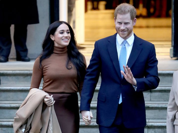The Duke and Duchess of Sussex depart Canada House on Jan. 7 in London.
